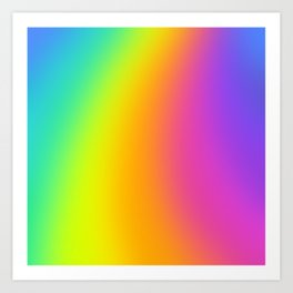 Bright Curved Rainbow Gradient Art Print