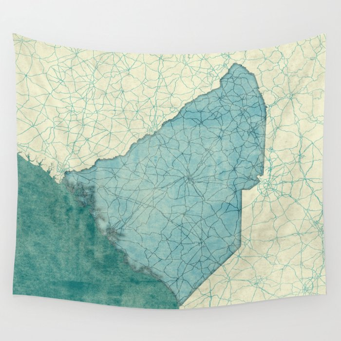 South Carolina State Map Blue Vintage Wall Tapestry by hubertroguski ...
