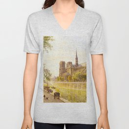 L'lle de la Cite and the Cathedral of Notre Dame, Paris from Quai Montebello by Firmin-Girard Unisex V-Neck