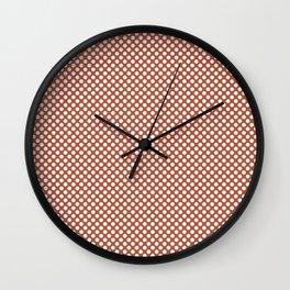 Autumn Glaze and White Polka Dots Wall Clock