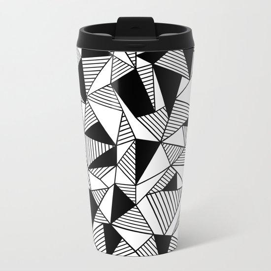Ab Lines with Black Blocks Metal Travel Mug