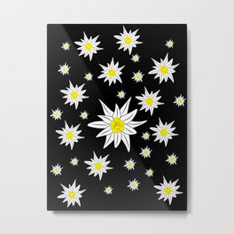 Edelweiss Pattern On Black Metal Print