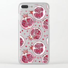 Pomegranate watercolor and ink pattern Clear iPhone Case