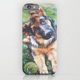 German Shepherd dog portrait painting by L.A.Shepard fine art alsatian iPhone Case