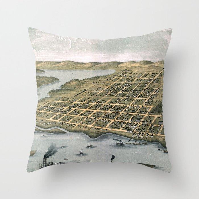 Hudson - Wisconsin - 1870 Throw Pillow