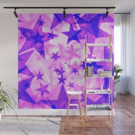 Glowing purple and pink stars on a light background in projection and with depth. Wall Mural
