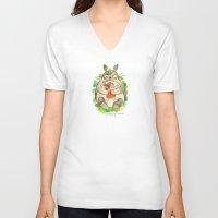 miyazaki V-neck T-shirts featuring Miyazaki Hug by Super Group Hugs