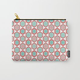 Moroccan Tile. Minimalist Geometric Pattern in Coral Pink and Aqua Carry-All Pouch