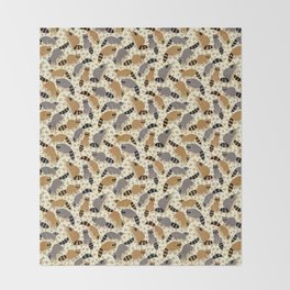Adorable Racoon Friends, Animal Pattern in Nature Colors of Grey and Brown with Paw Prints Throw Blanket