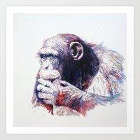 monkey Art Prints featuring Monkey by Cristian Blanxer