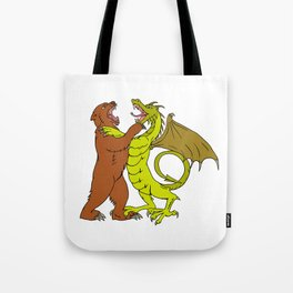 Chinese Dragon Fighting Grizzly Bear Drawing Color Tote Bag