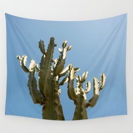Cactus blue background Wall Tapestry