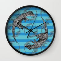 otters Wall Clocks featuring Swimming Otters by Curious Nonsense.