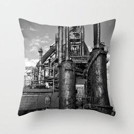 Black and White Bethlehem Steel Blast Furnace Throw Pillow