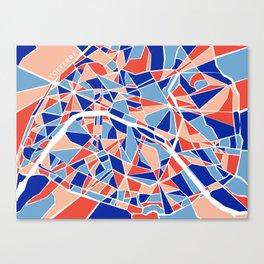Paris Mosaic Map Canvas Print