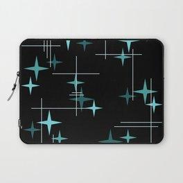Mid Century Modern Stars Black Teal Laptop Sleeve