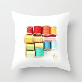 Colorful Needle and Thread Throw Pillow