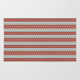 Red And White Zig Zag Christmas Pattern Rug