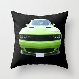 Green Dodge Challenger Throw Pillow