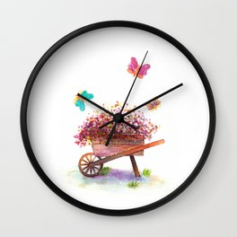 Flowers Cart Watecolor Wall Clock