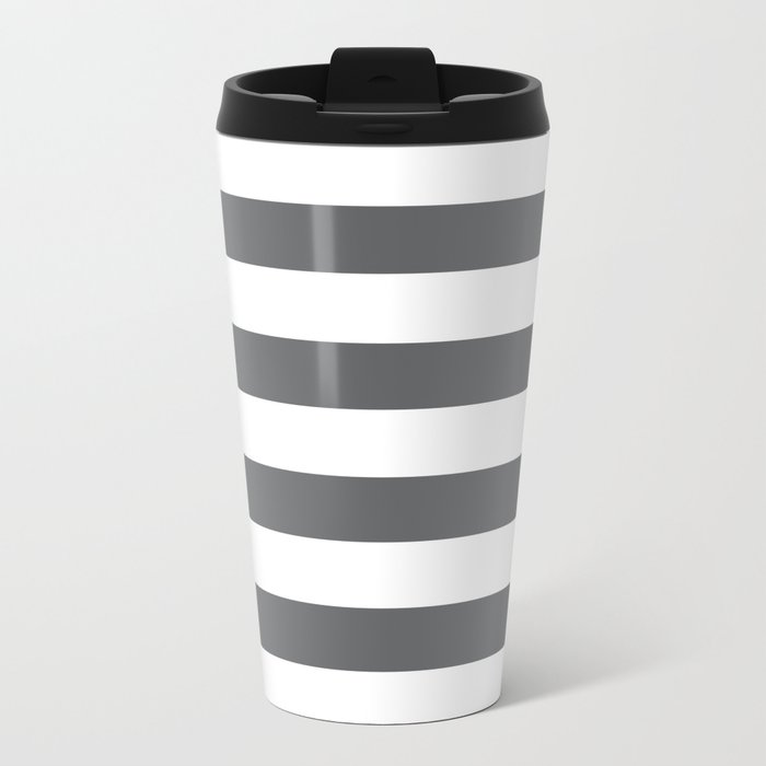Simply Striped in Storm Gray and White Metal Travel Mug