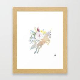 Bouquet Unicorn Framed Art Print