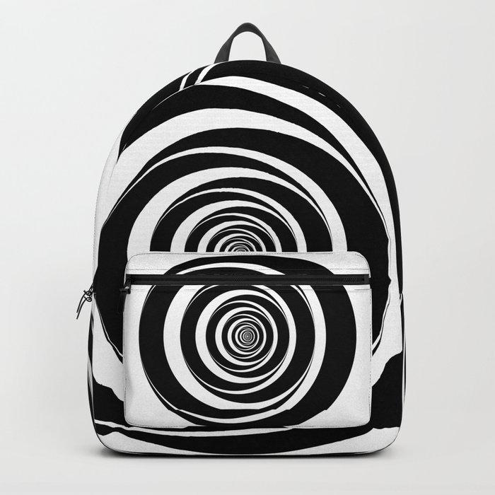 Black  White Circles Sixties Optical Illusion Backpack