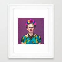 Framed Art Prints featuring Trendy Frida Kahlo by Xchange Art Studio