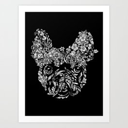 Botanical frenchie Art Print