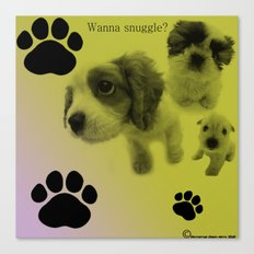 Puppy Snuggle Pillow Canvas Print