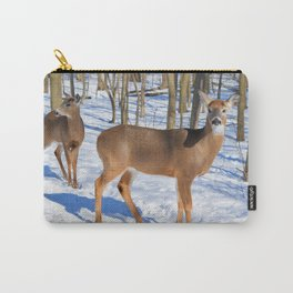 Deer in the Wintery Woods by Reay of Light Photography Carry-All Pouch