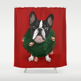 Christmas Bulldog Shower Curtain
