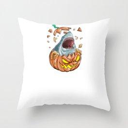Shark Pumpkin, It's Show Time Funny Halloween Horror Scary Throw Pillow