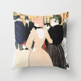 Henri Toulouse Lautrec / Au Moulin Roug, la Goulue et sa soeur Throw Pillow
