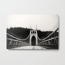 St Johns Bridge in Black and White Metal Print