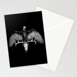 The Omen - Eerie Turkey Vulture on Stag Skull Bird Ink Illustration Stationery Cards