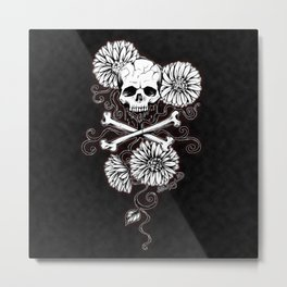 skull and daisy -red Metal Print