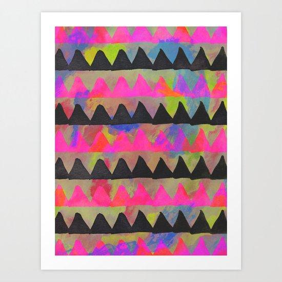 triangles(neon) Art Print