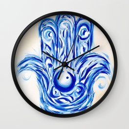 Blue and Tan Hamsa Hand Wall Clock