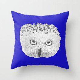 Snowy Owl Bright Blue Throw Pillow