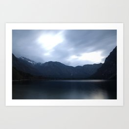Lake Bohinj at dusk Art Print