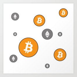 Ethereum and Bitcoin Pattern Art Print