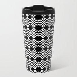 Arrows and Diamond Black and White Pattern 2 Metal Travel Mug