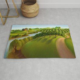 Classical Masterpiece 'The Plains' by Grant Wood Rug