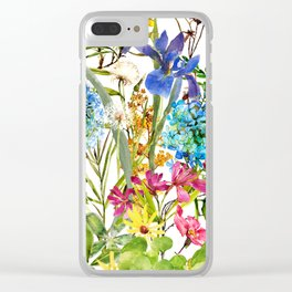 Watercolor flower garden party with butterfly Clear iPhone Case