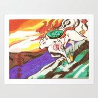 okami Art Prints featuring Okami Landscape by Yukie