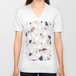 Terrazzo Pattern Design Colorful Style Unisex V-Neck