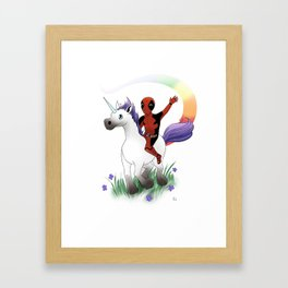 Dead Pool on a Unicorn Framed Art Print