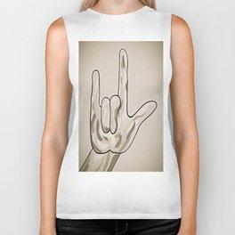 ASL I Love You Sepia Tones Biker Tank