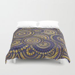 Circular Ethnic  pattern pastel gold and purple Duvet Cover
